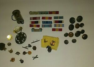 Vintage-Military-Pins-Ribbons-Bars-Buttons-Miscellaneous-Lot