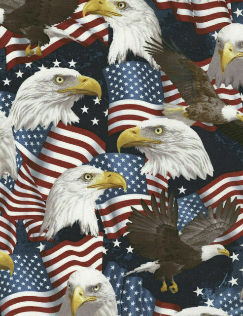 American Flag USA Eagles Toss Blue Cotton Fabric Andover Patriotic By The Yard