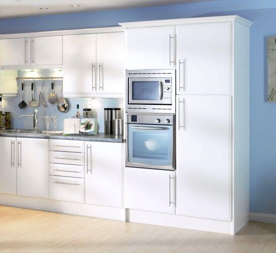 Chamfered Edge Matt White Kitchen Cupboard Doors Fits Howdens Mfi