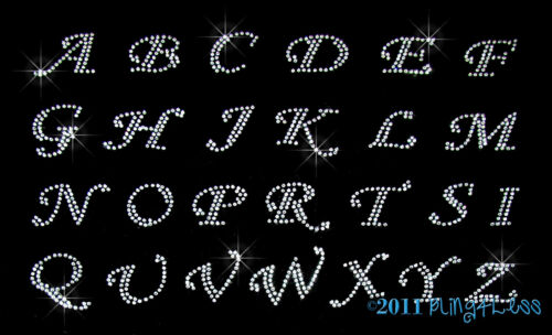 Clear ALPHABET Rhinestone Iron on Transfer Hot Fix Med Any 15 CURSIVE Letter
