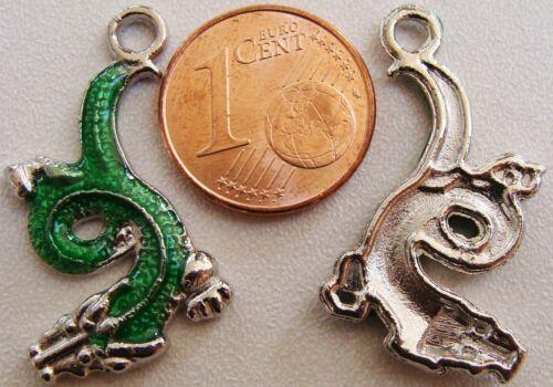 2 Breloques perle pendentif DRAGON VERT chinois métal argenté 26mm DIY bijou B25