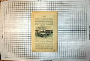 Antique-Print-Ramsgate-Colour-Harbour-Lighthouse-Sail-Boats-Town-Buildings