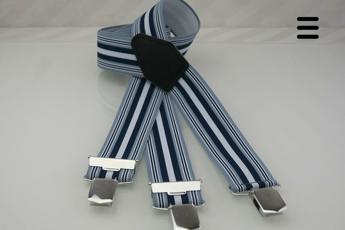 Hosenträger grau/blau gestreift - 3 starke Clips, Handmade Germany, Ebel-Heine