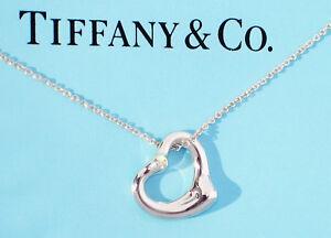 a08828773 Tiffany & Co Elsa Peretti Sterling Silver Open Heart Double Diamond ...