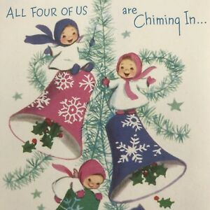 Vintage-Mid-Century-Christmas-Greeting-Card-Cute-Girls-Kids-On-Pink-Blue-Bells