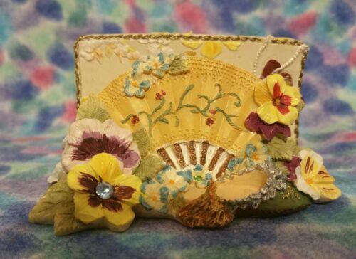 "Resin Molded Sculpted  Business Card  Holder /""Victorian Treasures/"" Design"