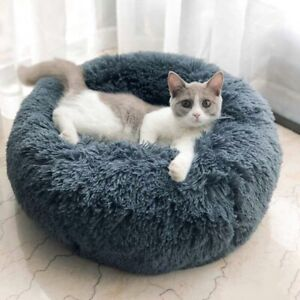 Plush-Pets-Dog-Cat-Calming-Bed-Round-Warm-Nest-Multicolor-Pet-Sleep-Beds-Cushion