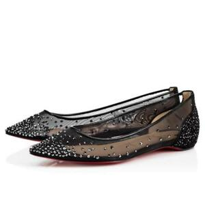 168c9d09415d Image is loading NB-Christian-Louboutin-Follies-Strass-Flat-Black-Crosta-