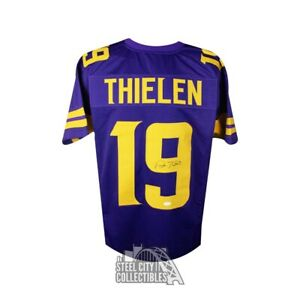 1093b93e Details about Adam Thielen Autographed Minnesota Vikings Custom Color Rush  Football Jersey JSA