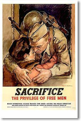 Sacrifice - The Privelege of Free Men - NEW Vintage Reprint POSTER