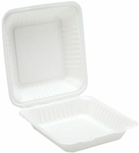 200 x Weiß 8  Paper Meal Box Container - Biodegradable Bagasse Sugarcane