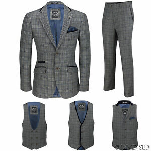 New Mens Vintage Grey Herringbone Check 3 Piece Suit, Sold As Tailored Separates Reich Und PräChtig