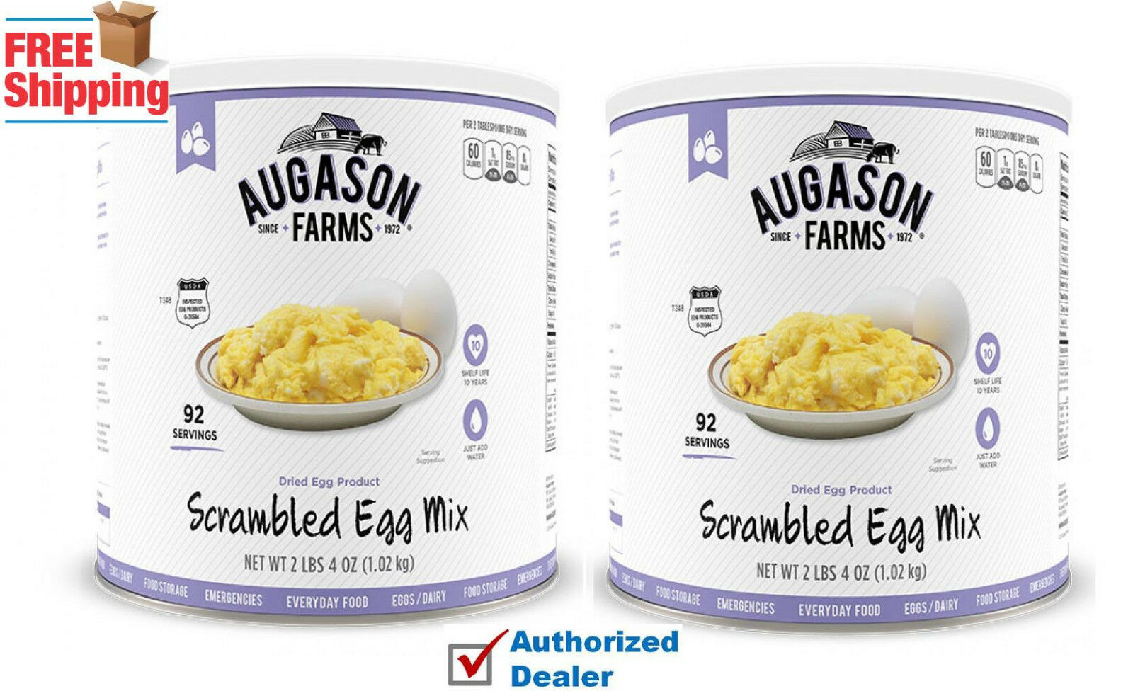 Augason Farms 184 Serv. Dried SCRAMBLED EGG MIX - 2 x CAN POWDERED EGGS