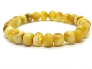 AMBER-BRACELET-Natural-BALTIC-AMBER-Yellow-Honey-Egg-Yolk-Beads-Ladies-8g-12555