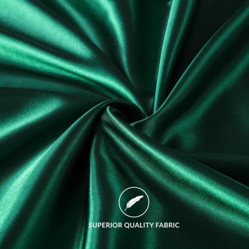 Satin Pillow Case Set Bed Sleeping Pillowcase Queen Size Soft Luxury Green Gray