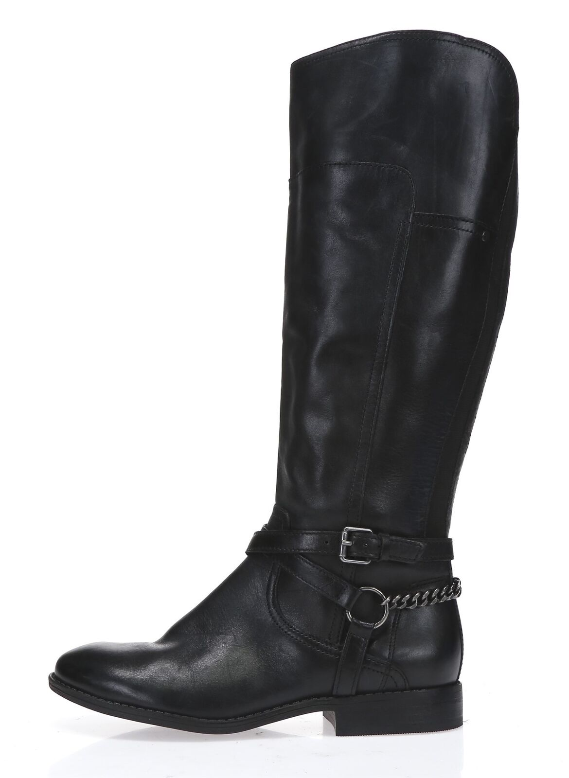 MARC FISHER Womens 'Alexis' Black Leather Tall Wide Calf Riding Boots Sz 6.5 NEW