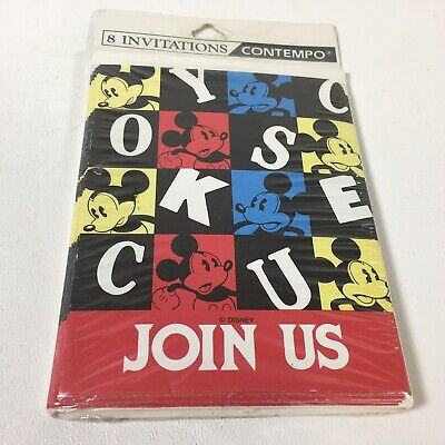 Vintage Mickey Mouse Invitations Join Us Disney Cubes Design 8 Count Ebay
