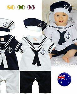 New Kids Girl Boy Baby Navy Sailor Marine Stripe Costume Party