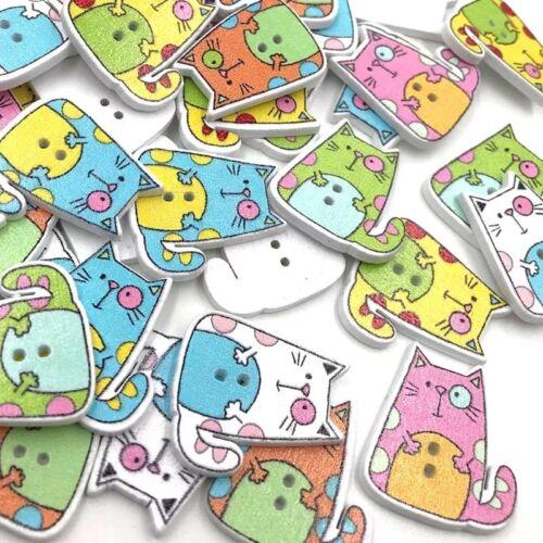 10pcs Mixed Cats en bois Boutons-Embellissements pour Cardmaking Artisanat Couture
