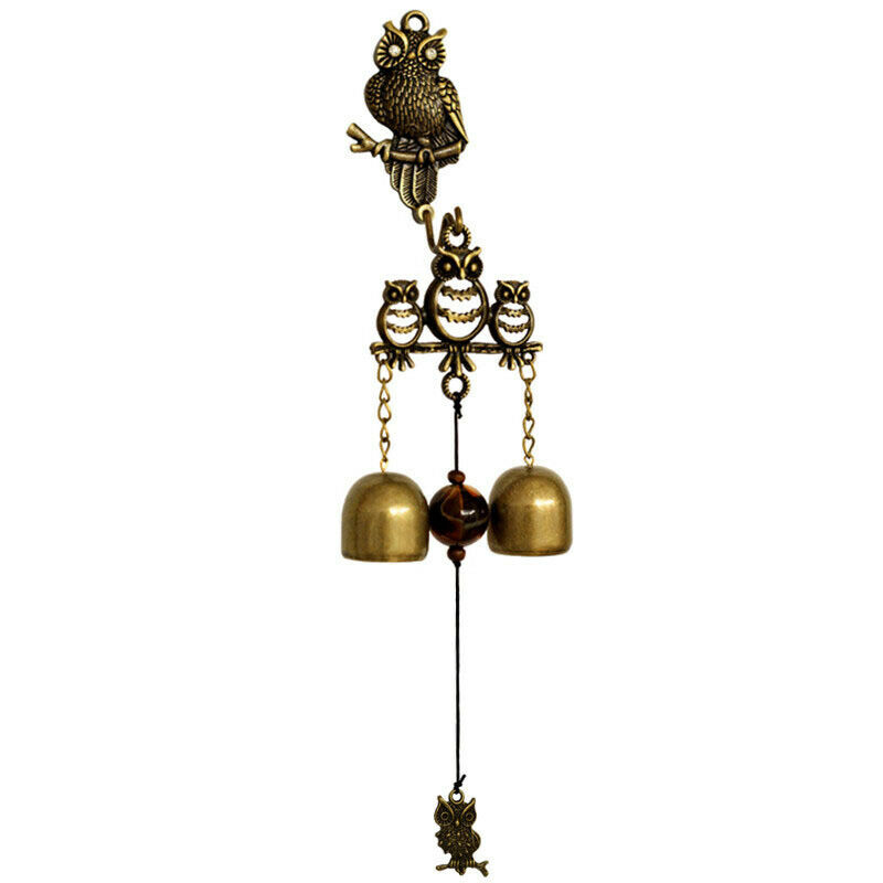 Owl Wind Chimes Copper Doorbell Yard Garden Hanging Ornament Decoration Windbell