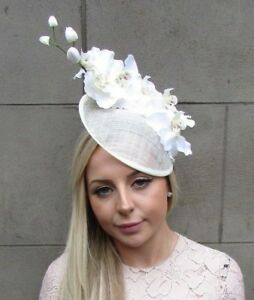 Cream White Orchid Flower Saucer Disc Hat Fascinator Races Wedding ... a537ed608c25