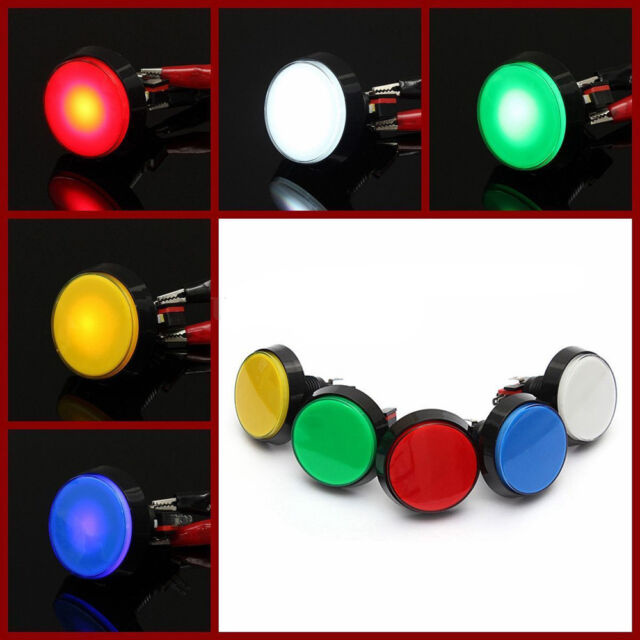 5 Colors LED Light Lamp 60mm Round Arcade Video Game Player Push Button Switch