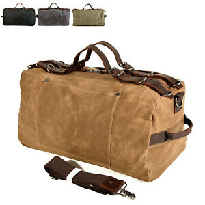 Vintage-Water-Resistant-Wax-Canvas-Duffel-Travel-Overnight-Weekend-Gym-Carry-Bag