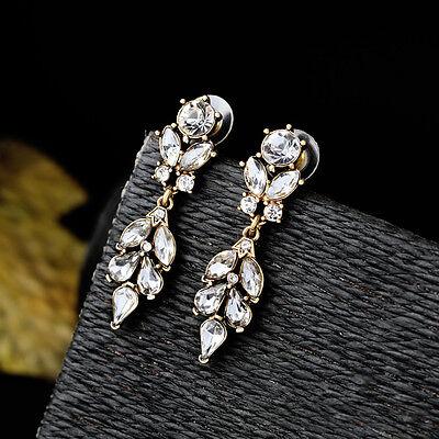 DESTOCKAGE Boucles d/'Oreilles Goutte Feuille Cristal Class Mariage Art Deco A15