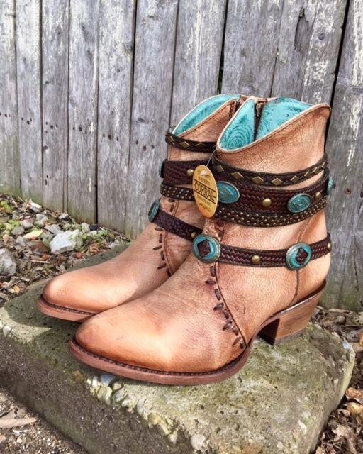 sconto prezzo basso Corral Ladies Crackled Bone Studded Harness Ankle stivali stivali stivali w Zipper C3195  SALE    alla moda