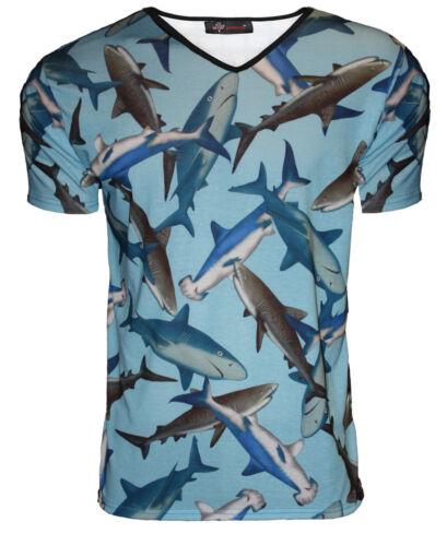 L XL Men/'s requins de la mer l/'eau Imprimer T-shirt à encolure v punk goth emo S M