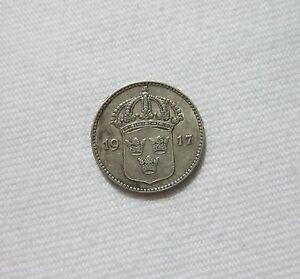 SWEDEN-SILVER-10-ORE-1917-KING-GUSTAF-V