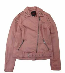 Yoki Woman/'s Mauve Studded Faux Leather Moto Jacket Size S M L XL $102