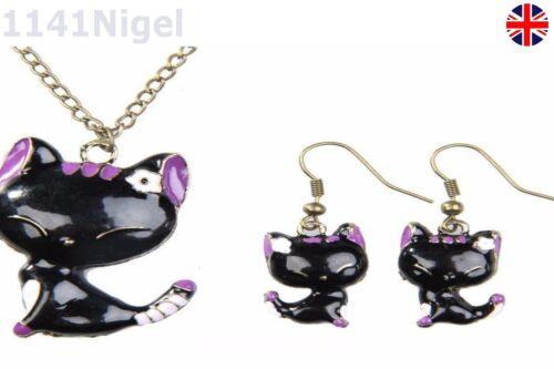 Sweet Korean Style Mini Kitty Pattern Lady Girl Stud Earrings Necklace Set