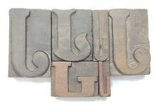 Letterpress Letter Wood Type Printers Block Lot Of 6 J Typography Eb 286
