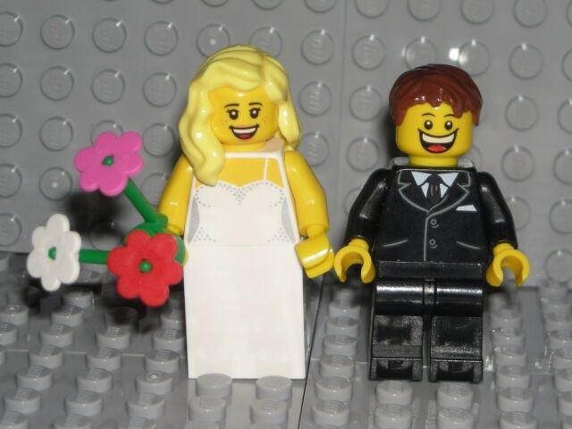 NEW LEGO WEDDING COUPLE plus Cake & Rings minifig lot bride & groom ...