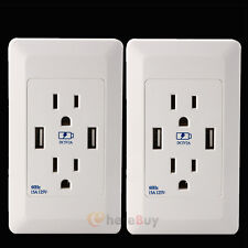 Standard Outlet 2 Socket & Dual USB Ports Wall Mount Power Plate ...