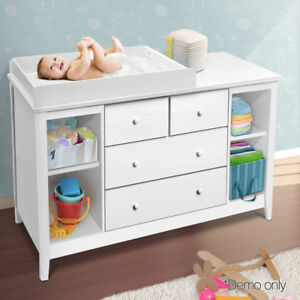 NEW-Baby-Change-Table-Dresser-Nursery-Chest-Cabinet-4-Drawers-Shelves-Melamine