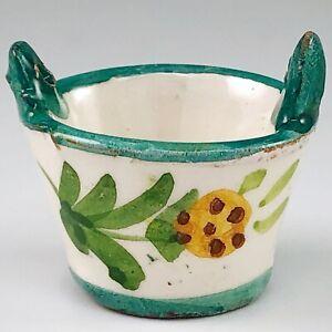 Miniature Italian Redware Pottery Basket Hand Painted Flowers Mini Italy Vintage