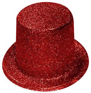 Adroit 1 X Rouge Paillettes Brillant Chapeau Haut De Forme Femmes Enterrement De Vie