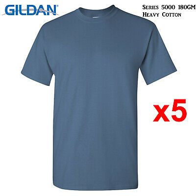 5XL Men Heavy Cotton 5 Pk Gildan Indigo Blue T-SHIRT Blank Plain Basic Tee S