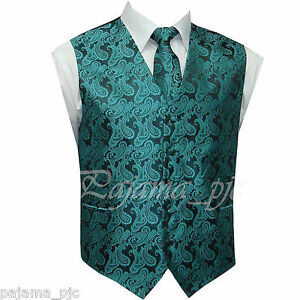 Turquoise Blue XS to 6XL Paisley Tuxedo Suit Dress Vest Waistcoat Wedding Party