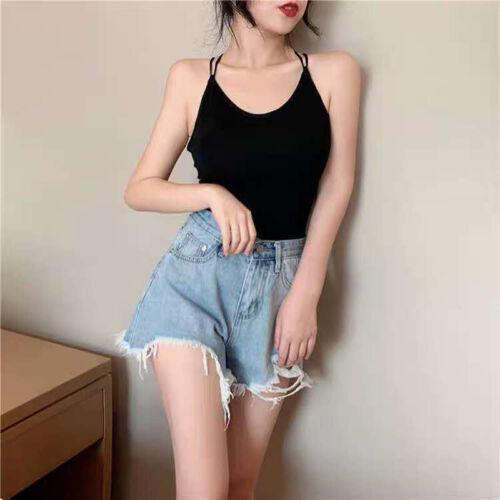 Women Crop Top Backless Bandage Bra Bralette Vest Halter Sleeveless Tank Topyu