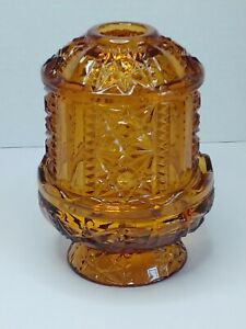 Vintage-Indiana-Amber-Glass-Fairy-Lamp-Light-Stars-and-Bars-Tealight-Votive