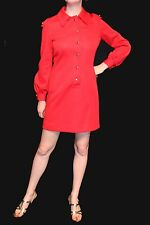 S~M Red Kimberly Knit Vtg 60s Military Shoulder Epulats Shift MINI Shirt Dress