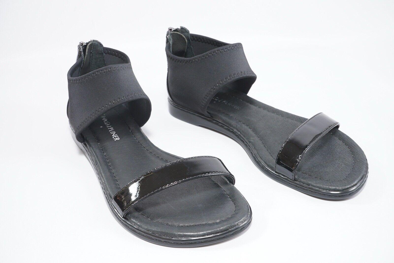 Donald J Pliner Black Black Black Gelda Flat Zip Up Heel Sandals Sz 5M NWOB  238 0ec4c7