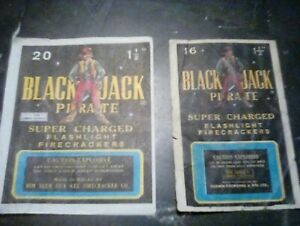 2-FIRECRACKER-PACK-LABELS-vintage-Black-jack-Pirate-Both-Labels-in-this-deal