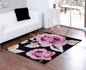 Aspire-Zaire-Black-Pink-Floral-Design-Luxury-Rug-in-various-sizes