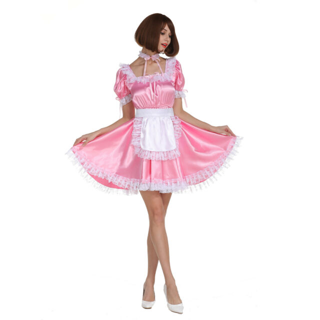 a1b7f0f276f7a Sissy Girl Maid Square Neckline Baby Pink Satin Dress Crossdress Cosplay