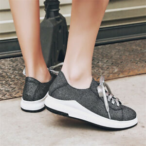 Women-Casual-Glitter-Lace-Up-Shoes-Comfort-Athletic-Sneakers-Walking-Shoes-Sport