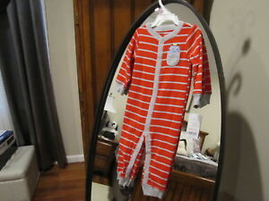 c8d8f54b1 Baby Boy CARTERS Red Gray Striped Robot Sleep   Play Size 9 Months ...